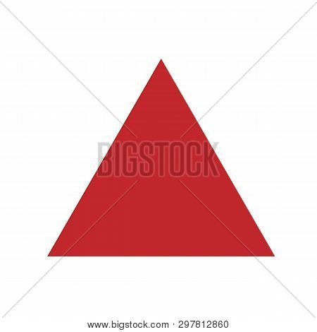 Red Triangle Basic Simple Shapes Isolated On White Background, Geometric Triangle Icon, 2d Shape Sym