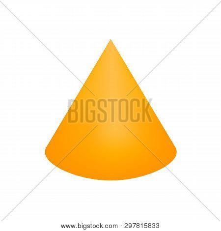 Orange Cone Basic Simple 3d Shapes Isolated On White Background, Geometric Cone Icon, 3d Shape Symbo