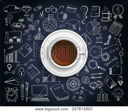 Hand Drawn Design Vector Illustration, Coffe Cup With Set Of Business Icons In Doodles Style, For Gr