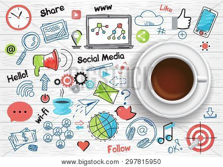 Hand Drawn Design Vector Illustration, Coffee Cup With Set Of Social Media And Social Networking Con