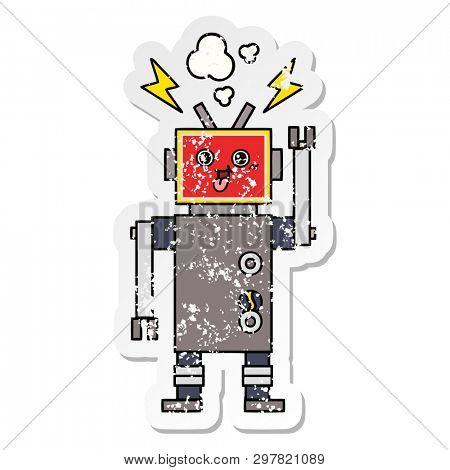 distressed sticker of a cute cartoon crazed robot