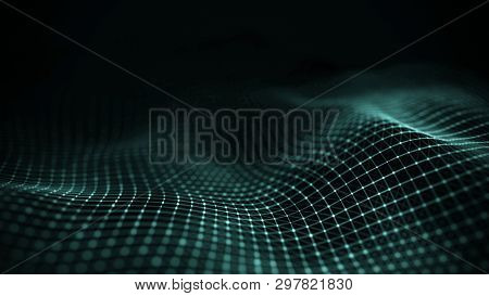 Data Technology Illustration. Abstract Futuristic Background. Wave With Connecting Dots And Lines On