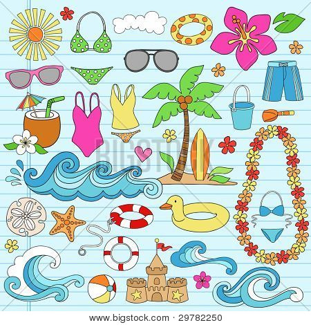 Summer Vacation Notebook Doodle Design Elements Set on Blue Lined Sketchbook Paper Background- Vector Illustration