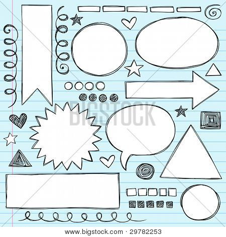 Sketchy Frames and Borders Hand-Drawn Notebook Doodles Set- Vector Illustration Design Elements on Lined Sketchbook Paper Background