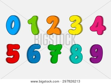 Set Colorful Numbers, Vector Cartoon Kids Figures, Number Icon