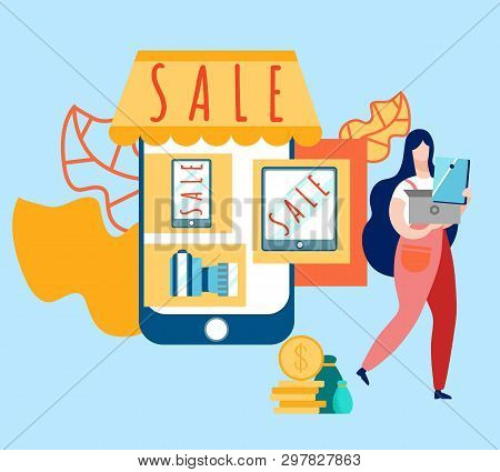 Electronics Store Sale Cartoon Vector Illustration. Affordable Prices For Modern Gadgets. Special Of