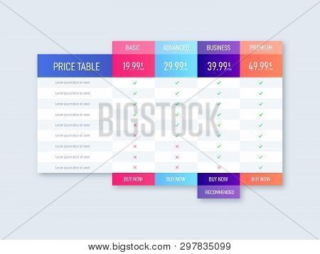 Price Table For Websites And Applications. Business Chart Template. Vector Illustration
