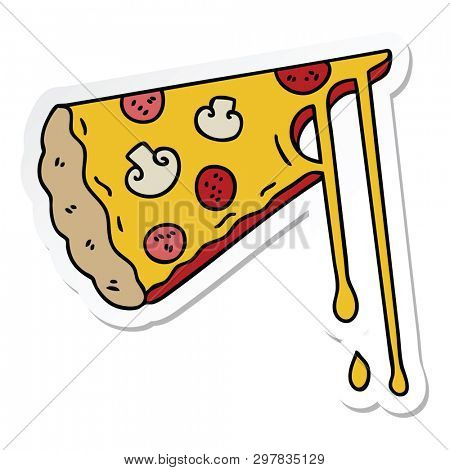 sticker of a quirky hand drawn cartoon cheesy pizza poster