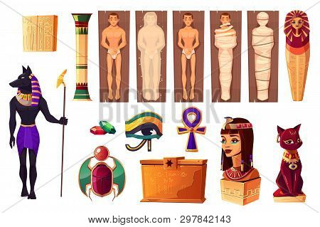 Egyptian Ancient Attributes Of Culture And Religion Set Isolated On White Background. Egypt Deities