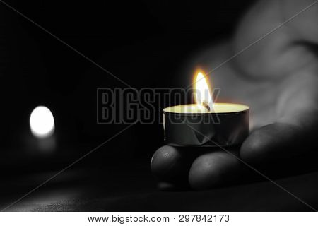 Memorial Day International Holocaust Remembrance Day The Hand Holds A Candle On The Day Of Remembran