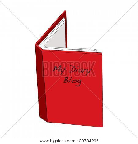 Blog diary concept with red open book and paper