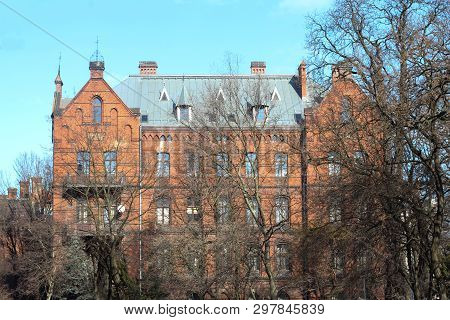 Mystical Castle, Red Brick Building, Red Castle, Creepy Trees, Creepy Trees In Front Of The Castle