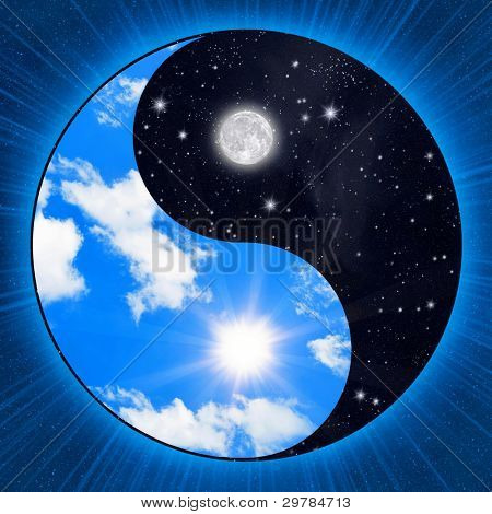 Yin yang symbol with clouds and stars