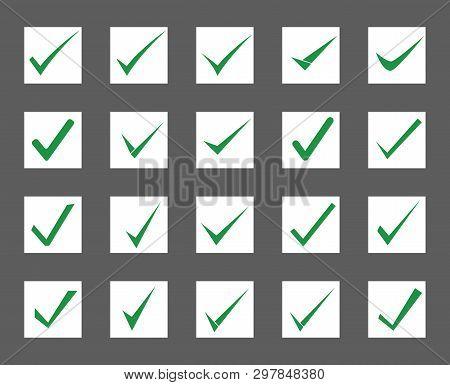 Set Of Check Mark Icon. Vector Illustration.