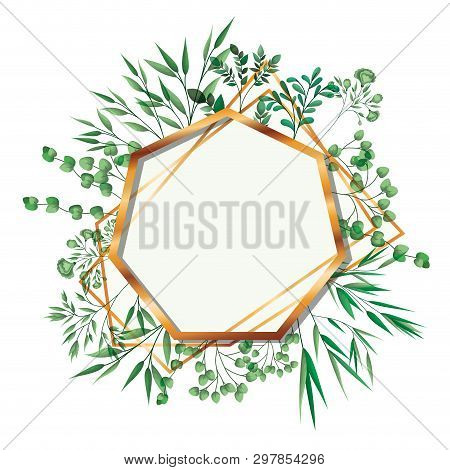 Golden Frame Heptagon With Foliage Isolated Icon Vector Illustration Desing