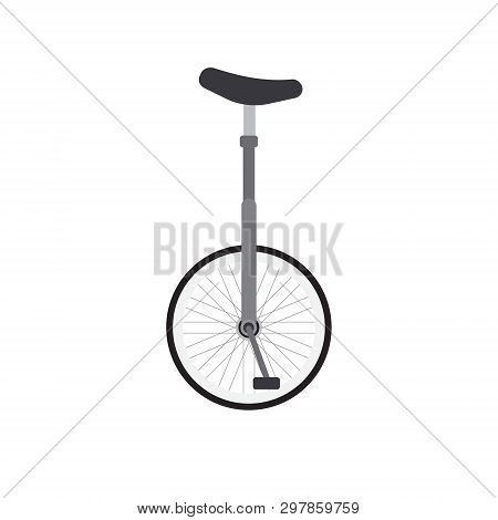 Vector Flat Cartoon Gray One Wheel Bicycle Isolated On White Background