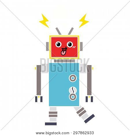 flat color retro cartoon of a crazed robot
