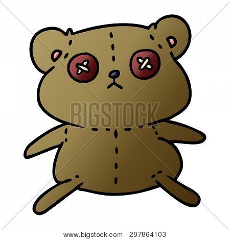 freehand drawn gradient cartoon of a cute stiched up teddy bear