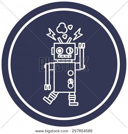 malfunctioning robot circular icon symbol