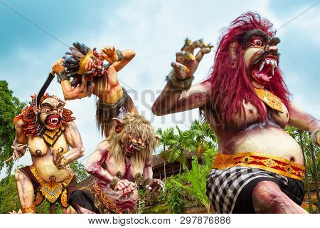 Ubud, Bali - March 04, 2011: Ogoh-ogoh Statues At The Ngrupuk Parade In Bali Island In Indonesia