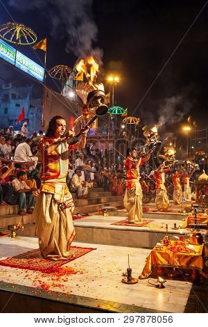 Varanasi, India - April 11, 2012: Ganga Aarti Is A Ceremony Performed To Honor The River Goddess Gan