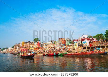 Varanasi, India - April 12, 2012: Colorful Boats And Ganges River Bank In Varanasi City In India