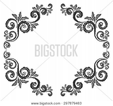 Vintage Ornament Greeting Card Vector Template. Charcoal Drawing. Flourishes Frame. Vintage Backgrou