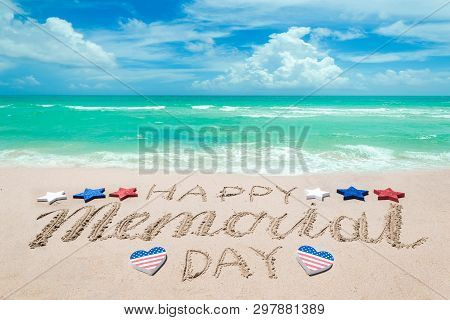Memorial Day Background On The Sandy Beach Near Ocean. Hand Drawn Lettering Typography.