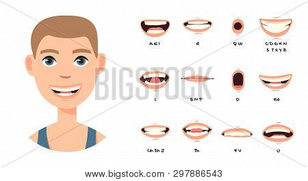 Cartoon Talking Mouth And Lips Expressions Vector Animations Poses. Accent And Pronunciation Speak,