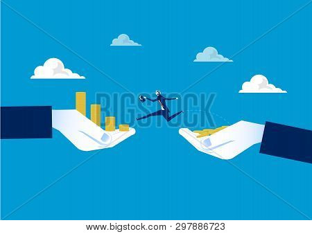 Businessman Jumping Over Chasm Between  Coin Growth On Hand . Business Concept. Vector Illustration