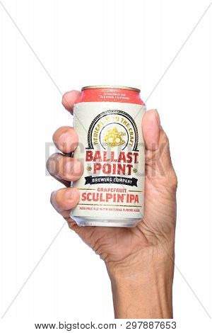 Irvine, California - April 26, 2019: Closeup Of A Hand Holding A Cold Can Of Ballast Point Grapefrui