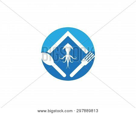 Squid Resto Logo Vector Template