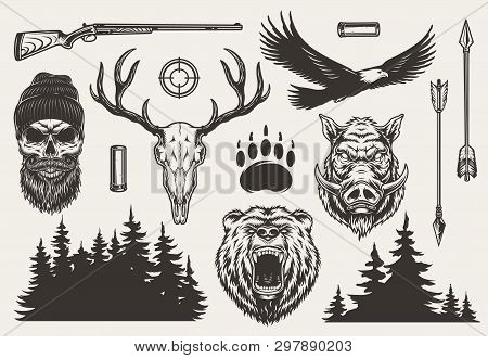 Vintage Monochrome Hunting Elements Set With Hunter And Deer Skulls Angry Bear Boar Heads Weapon Gun