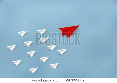 Paper Planes Are Competing To Destinations. Business Financial Concepts Are Competing For Success An