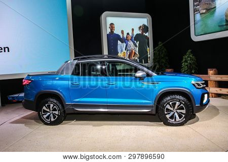 NEW YORK, NY, USA - APRIL 17, 2019: Volkswagen Tarok concept at the New York International Auto Show 2019, at the Jacob Javits Center. This was Press Preview Day One of NYIAS
