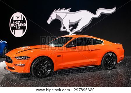 NEW YORK, NY, USA - APRIL 17, 2019: Ford Mustang Ecoboost at the New York International Auto Show 2019, at the Jacob Javits Center. This was Press Preview Day One of NYIAS