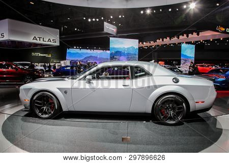 NEW YORK, NY, USA - APRIL 17, 2019: Dodge Challanger at the New York International Auto Show 2019, at the Jacob Javits Center. This was Press Preview Day One of NYIAS