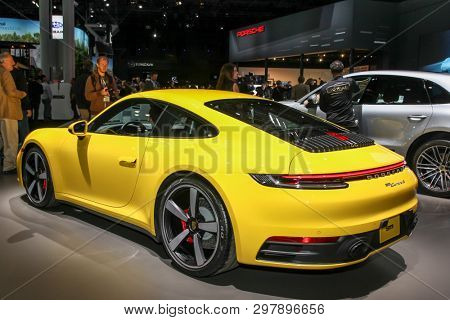 NEW YORK, NY, USA - APRIL 17, 2019: Porsche 911 Carrera S at the New York International Auto Show 2019, at the Jacob Javits Center. This was Press Preview Day One of NYIAS