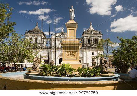 Fountain Ruben Dario Park Cathedral Of Leon Nicaragua