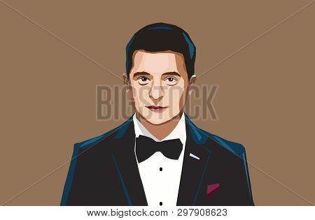 Kyiv, Ukraine, 21 April, 2019: Volodymyr Zelenskiy Was Elected As A Ukrainian President. Vector Port