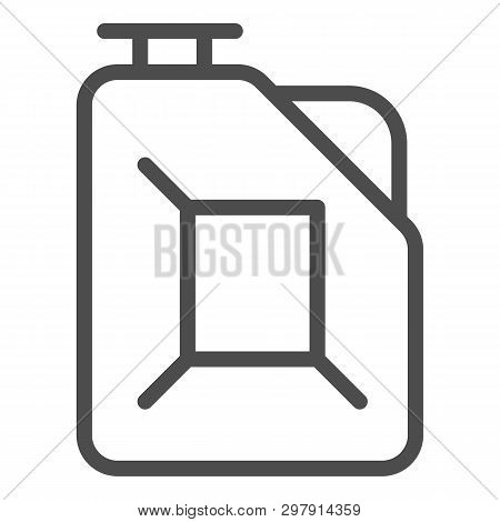 Fuel Canister Line Icon. Jerrycan Vector Illustration Isolated On White. Petrol Tank Outline Style D