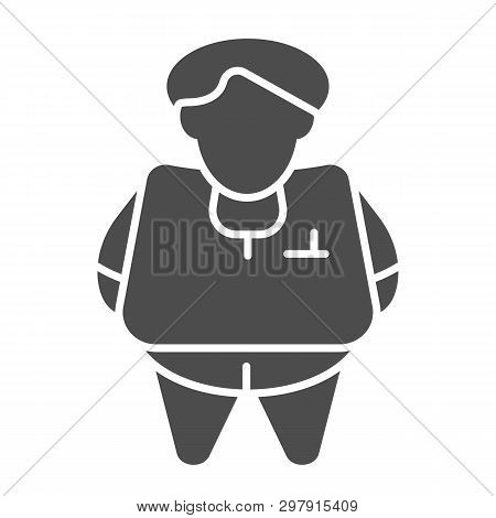 Fat Person Solid Icon. Obesity Vector Illustration Isolated On White. Fat Man Glyph Style Design, De