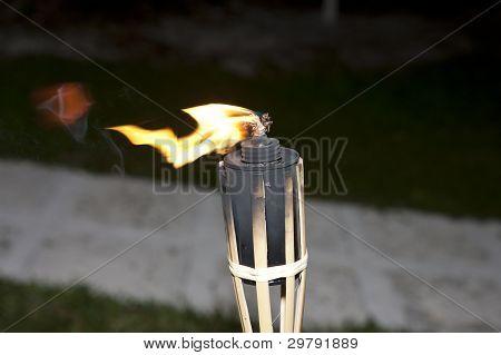 Tiki Torches Burning