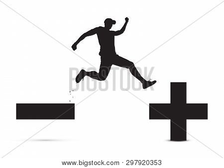 Black And White Of Man Jumping From Minus Sign To Plus Sign, Pessimistic To Optimistic Concept Vecto