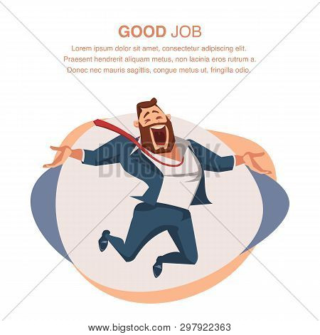 Smiling Office Worker In Suit Jump With Open Hand. Happy Businessman Or Boss Express Emotion, Love H