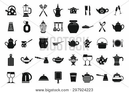 Crockery icon set. Simple set of crockery icons for web design isolated on white background poster