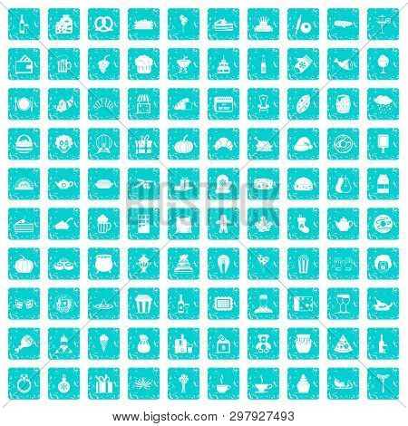 100 bounty icons set in grunge style blue color isolated on white background illustration poster