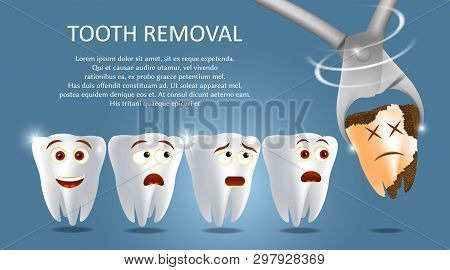 Tooth Removal Concept Vector Poster Banner Template