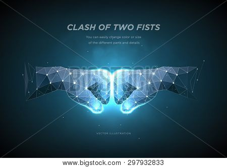 Clash Of Two Fists. Low Poly Wireframe Art On Dark Background.  The Concept Of Conflict Or Resistanc