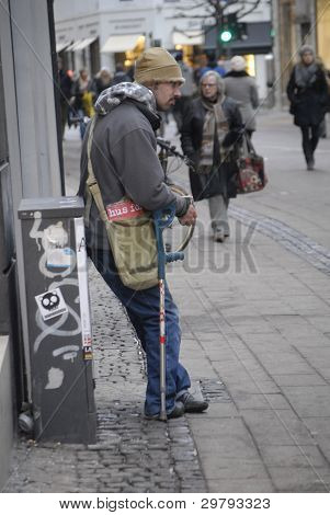 DENMARK / COPENHAGEN _ Former eastern european standing and begging on stroeget begging is illegal in Denmark but denmark can not deport beggers from eastern european countries due to thier eurpean nationals 8 February 2012 (Photo by Francis Dean/Dean P